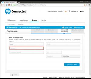 HP Instant Ink Registrierungsprozess Adresseingabe