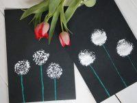 DIY-Idee: Pusteblumenbilder mit Spülbürste