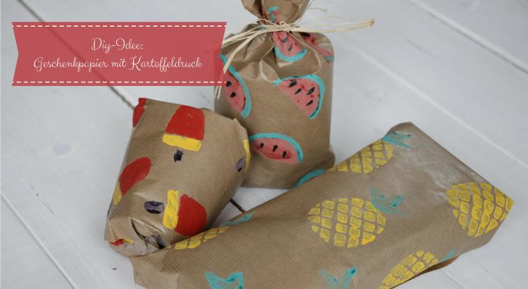 Kartoffeldruck Geschenkpapier