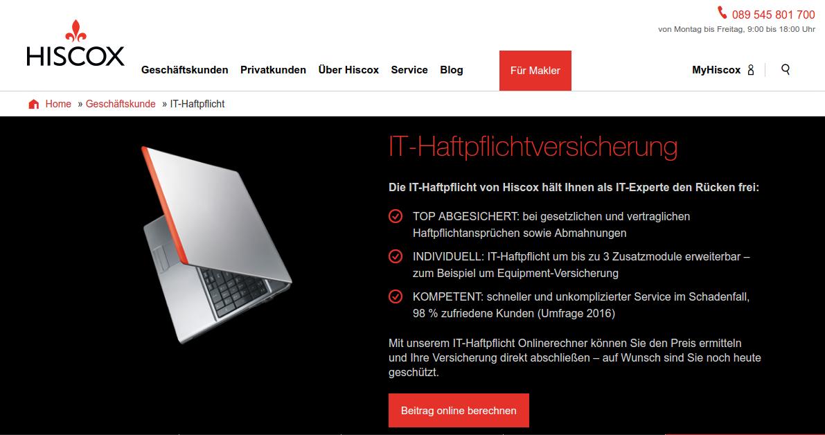 Hiscox IT-Haftpflichtversicherung