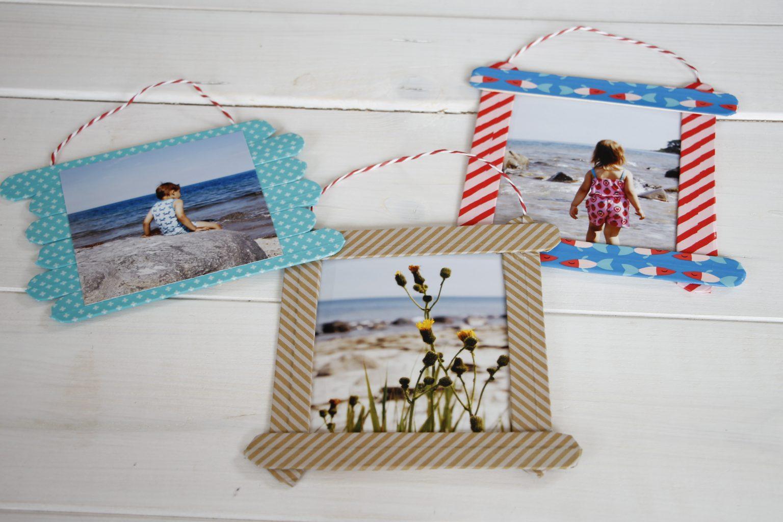 Bastelidee Kinder Bilderrahmen aus Holzstielen PixelNet
