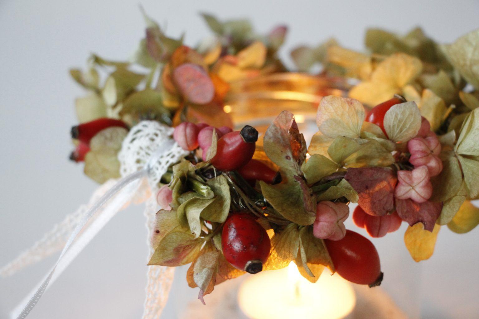 romantischer Blumenkranz