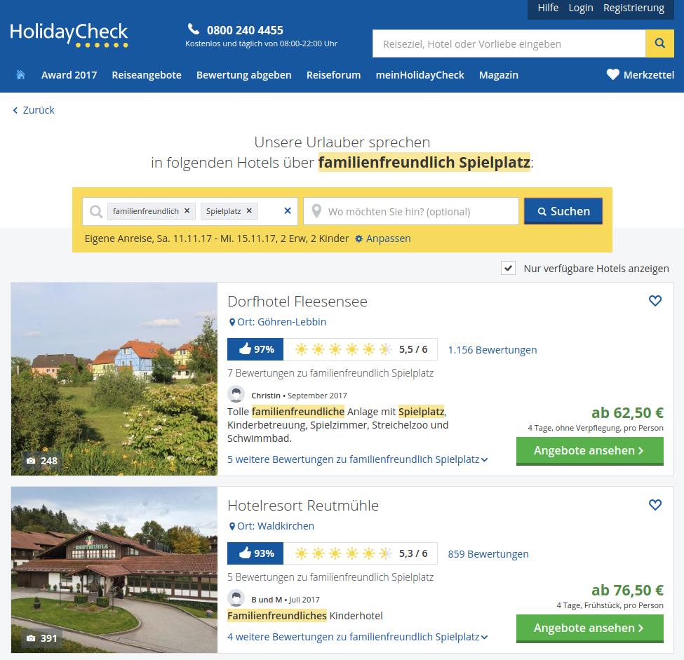 HolidayCheck Vorlieben-Suche familienfreundliches Hotel