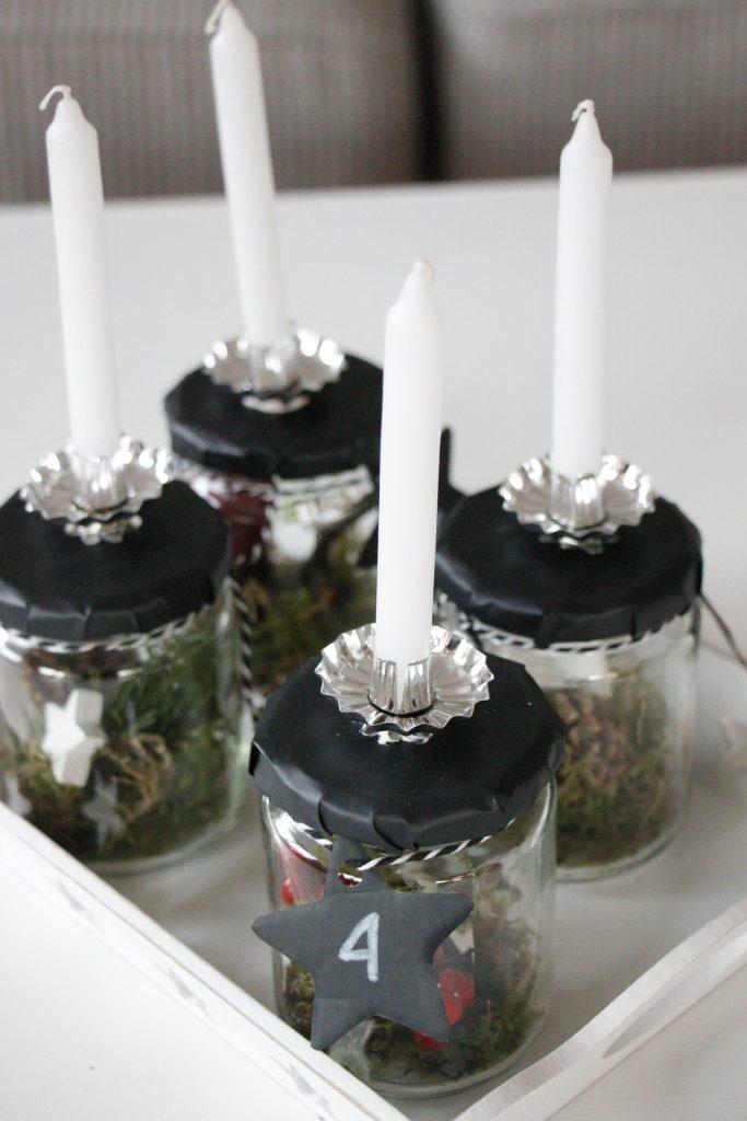 Skandinavischer Adventskranz im Glas - Lavendelblog