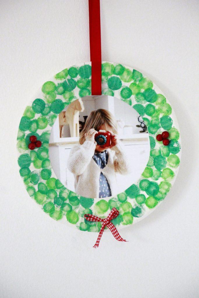 Pappteller Kranz Weihnachten Bastelidee