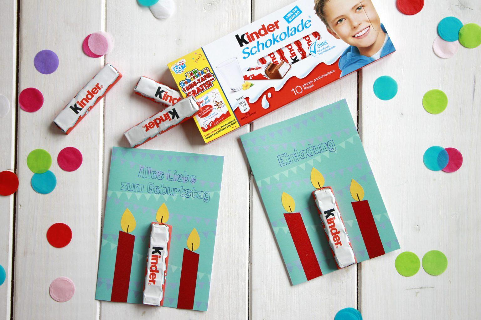 Einladungskarte Kindergeburtstag Idee mit Ferrero kinder Schokolade