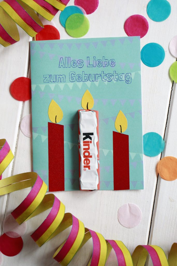 Geburtstagskarte Freebie Ferrero kinder Schokolade