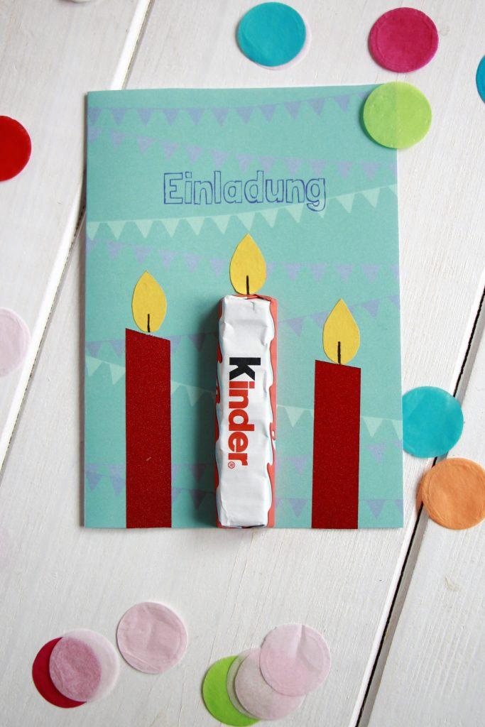 Kindergeburtstag Einladungskarte Idee Ferrero kinder Schokolade