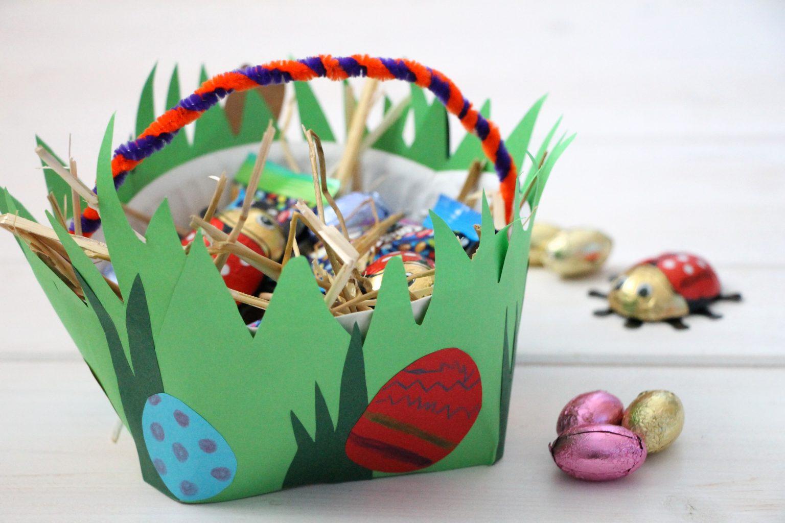 Bastelidee Ostern Pappteller Osterkörbchen