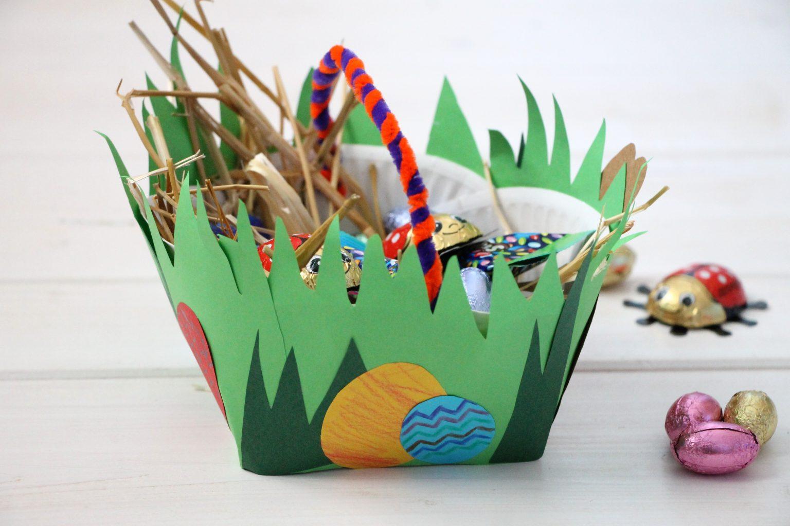 Osterkörbchen aus Pappteller selber machen