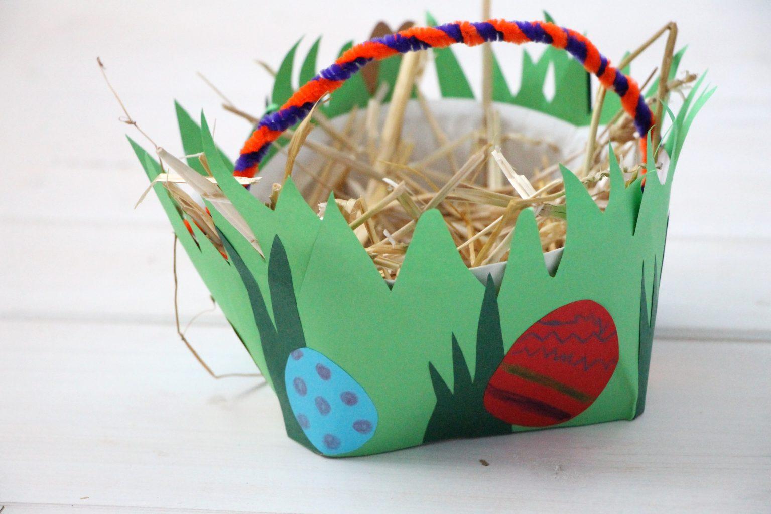 Osterkorb aus Pappteller Anleitung