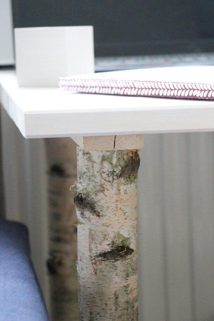 Schreibtisch Birkenstämme