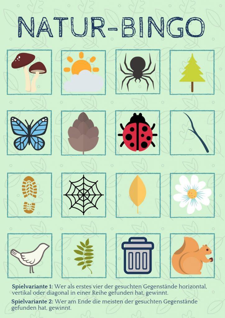 Natur Bingo Suchspiel Wald Kinder