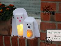 Halloween-Deko basteln: Gespenster-Laterne aus leerem Tetra Pak