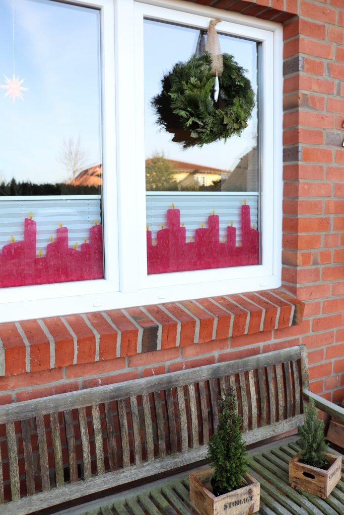 Fensterdeko Weihnachten Kerzen Transparentpapier