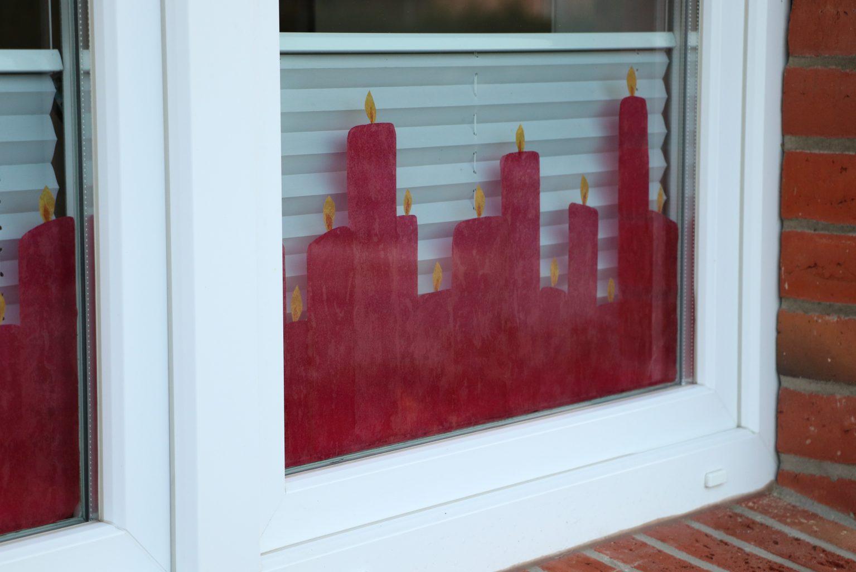 Transparentpapier Fensterbild Kerzen