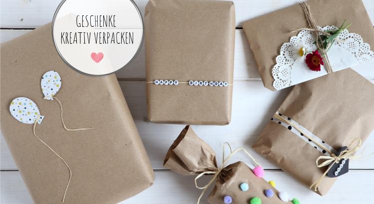 Geschenke kreativ verpacken Ideen Packpapier