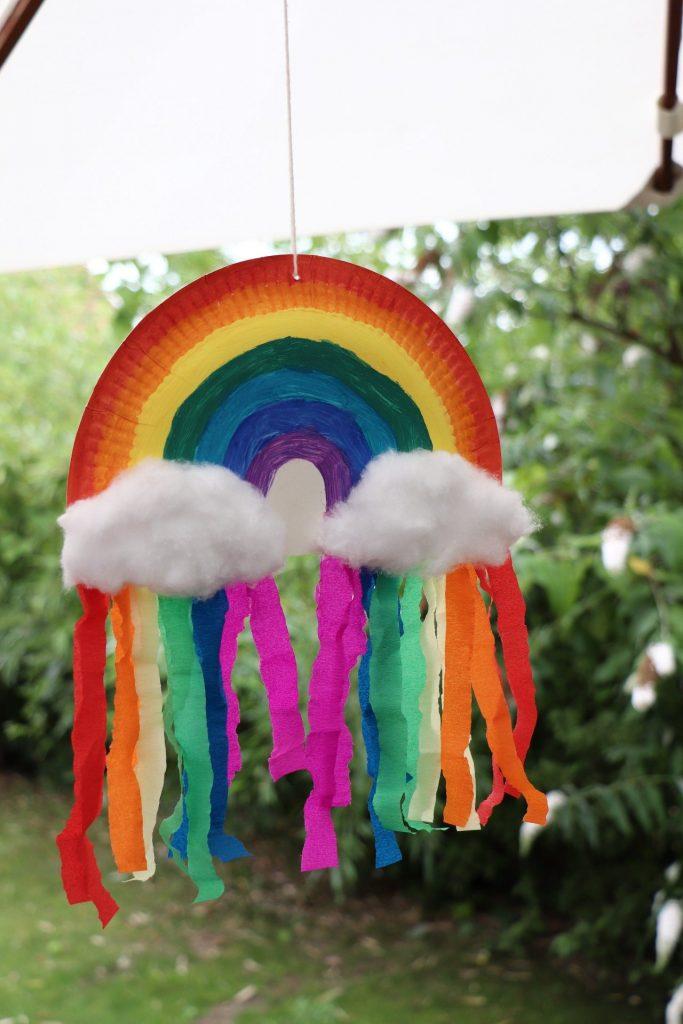 Pappteller-Regenbogen basteln