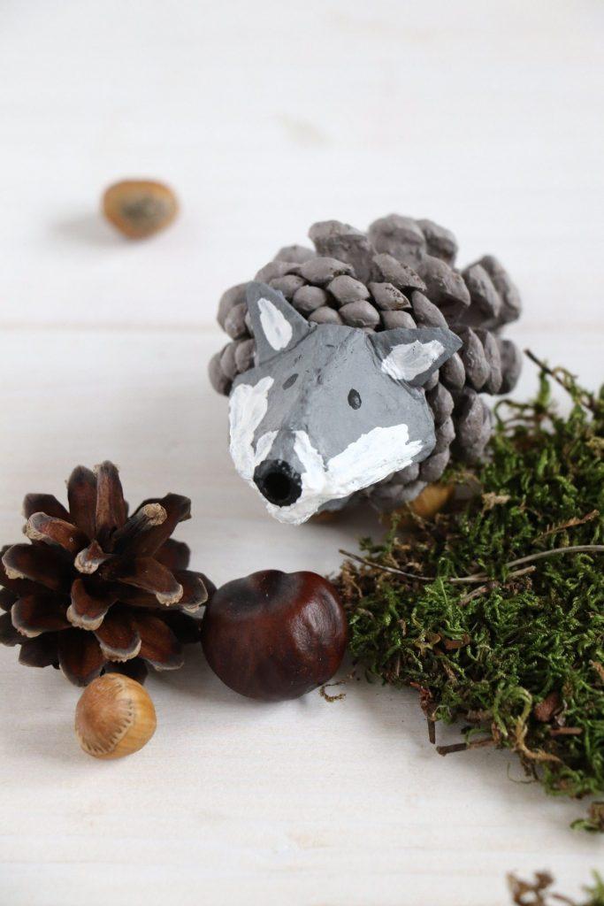 Zapfen-Tiere Wolf DIY