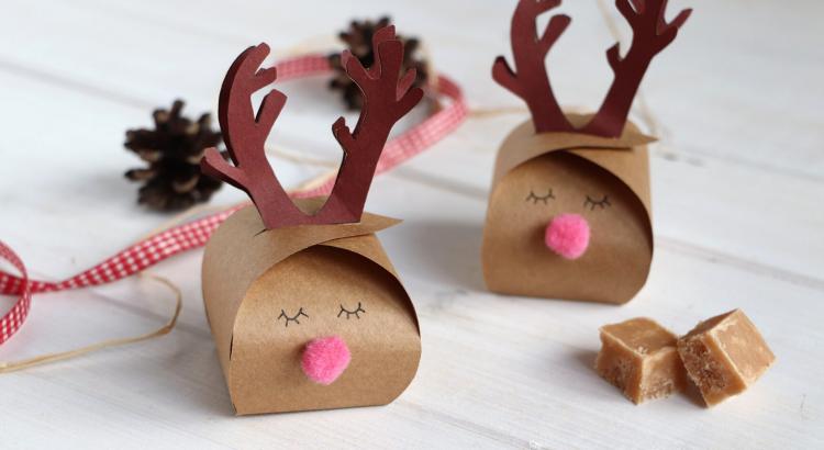 DIY Rentier Geschenkschachtel falten