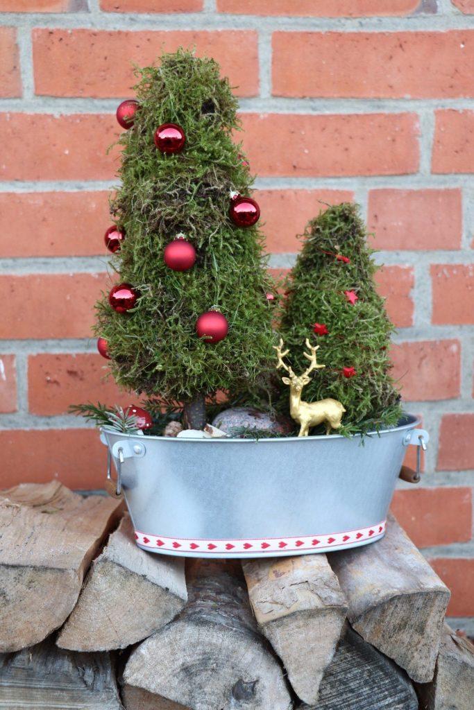 Moos-Tannenbäume DIY Weihnachten