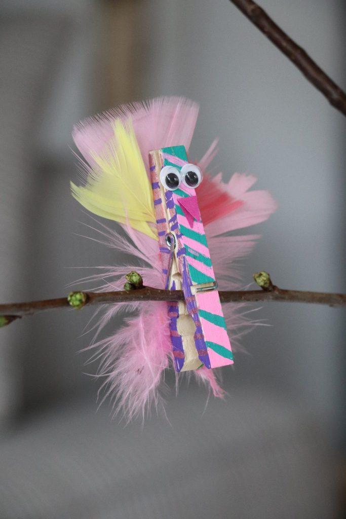 Wäscheklammer-Vogel basteln DIY