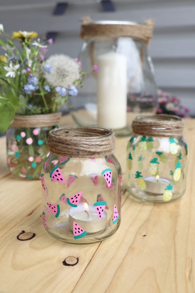 Glas Upcycling Windlichter