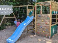 Neue Spielecke im Garten: Klettergerüst mit Rutsche