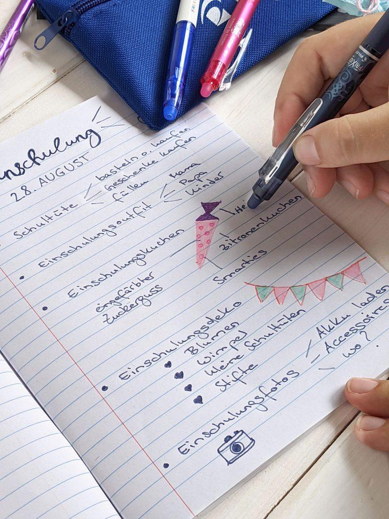 Einschulungsfeier planen Checkliste