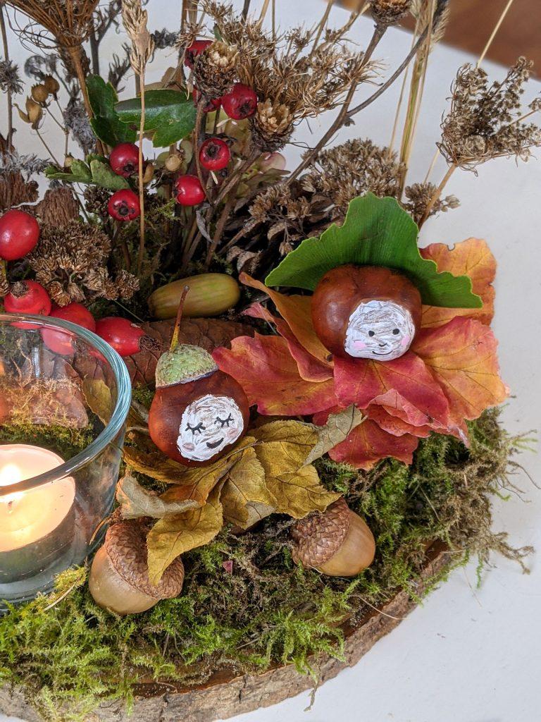 Herbst-Bastelideen Gesteck