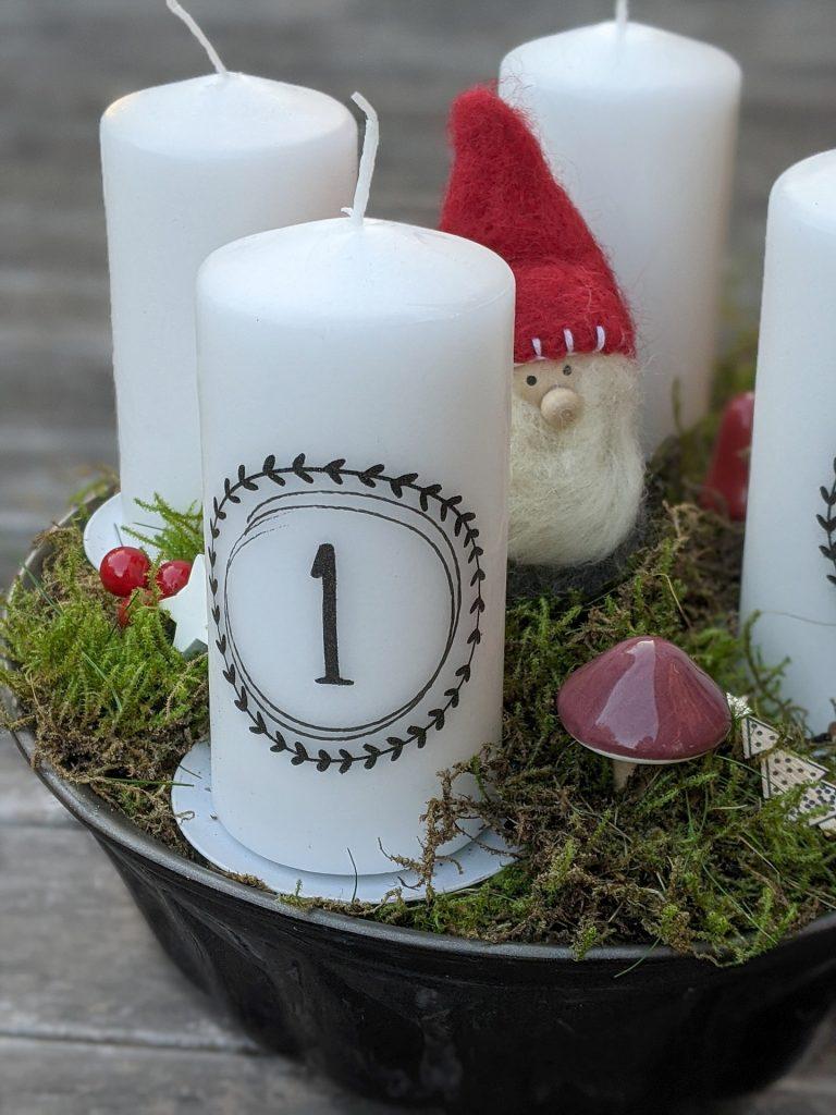 Adventskranz-Zahlen DIY