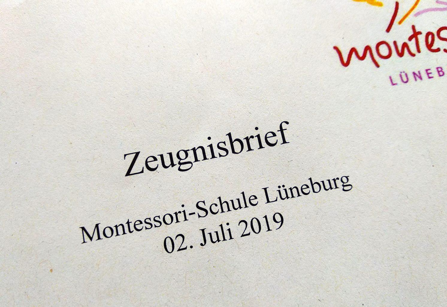 Montessori-Schule Zeugnisbrief