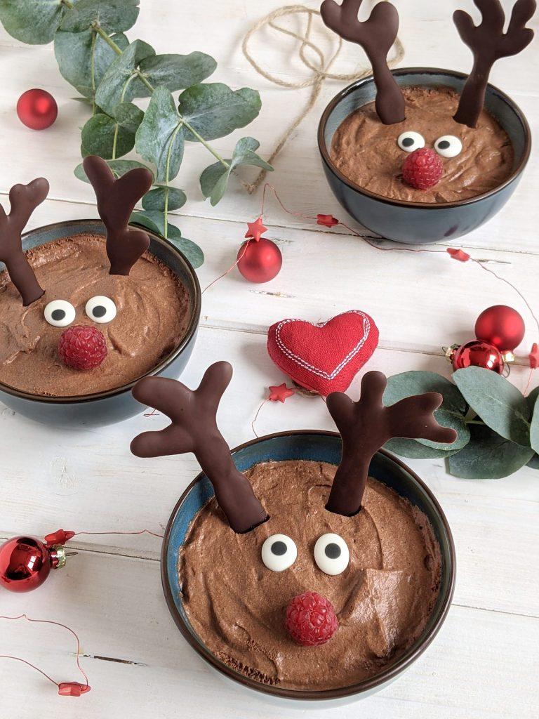 Rentier-Mousse-au-Chocolat Weihnachtsdessert