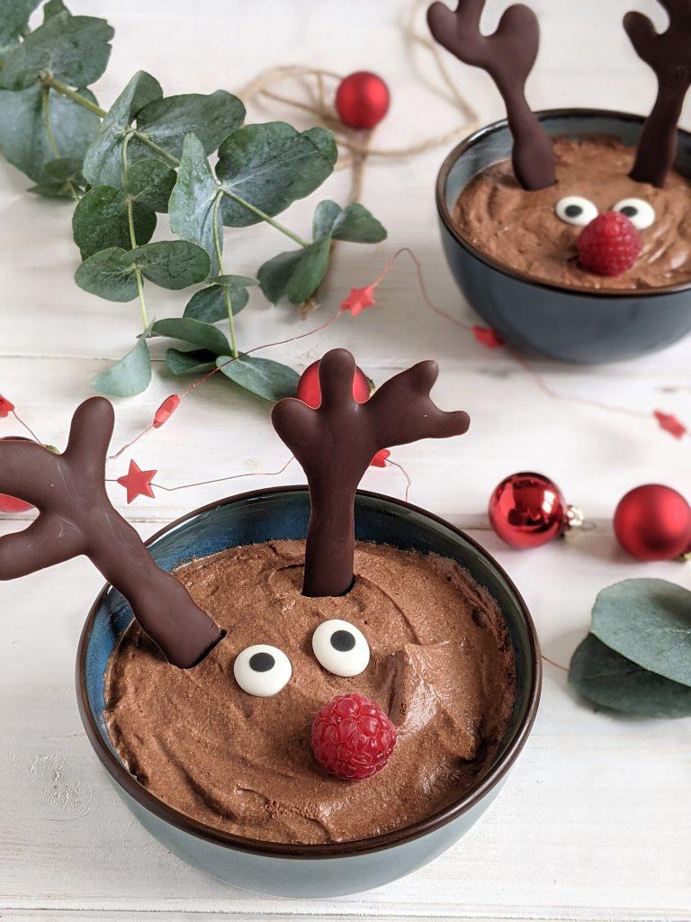 Weihnachtsdessert Rentier-Mousse-au-Chocolat