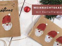 DIY: Geschenktüten und Karten mit Weihnachtsmann-Kartoffeldruck