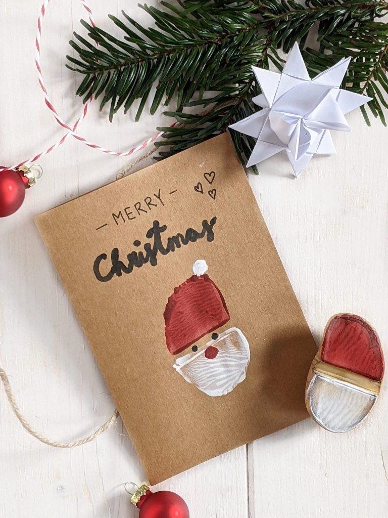 DIY Weihnachtsmann-Kartoffeldruck Karten