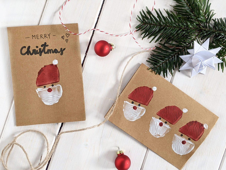 Weihnachtsmann-Kartoffeldruck Weihnachtskarten