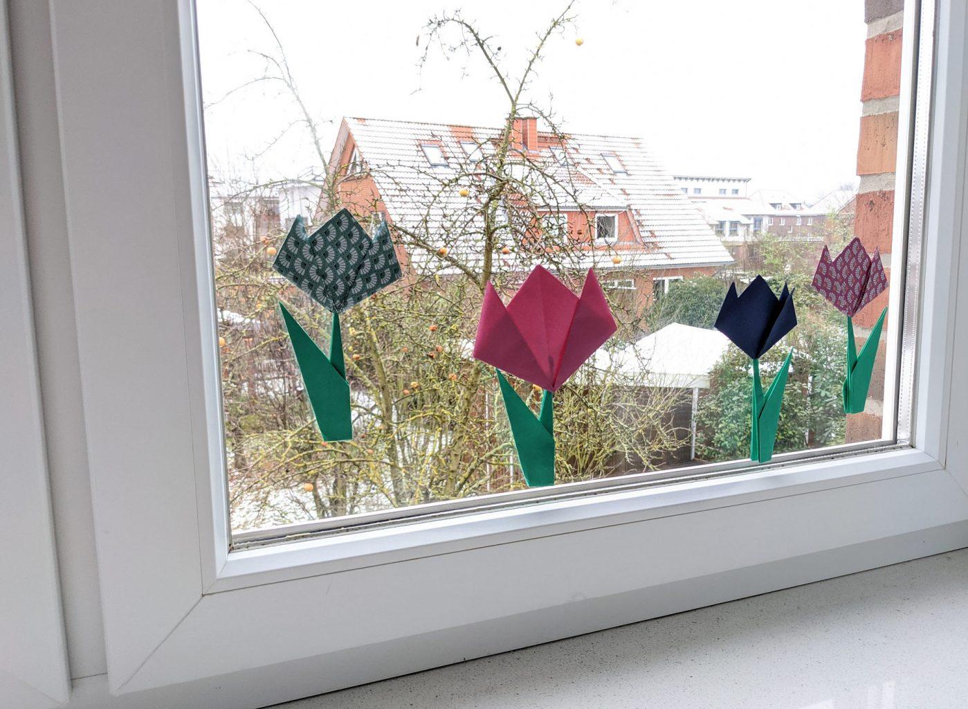 DIY Origami-Tulpen falten
