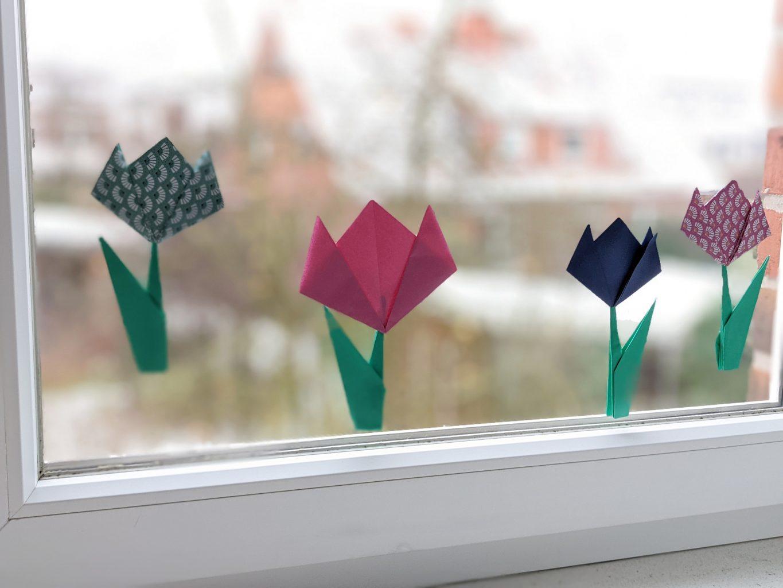 Fensterdeko Frühling basteln