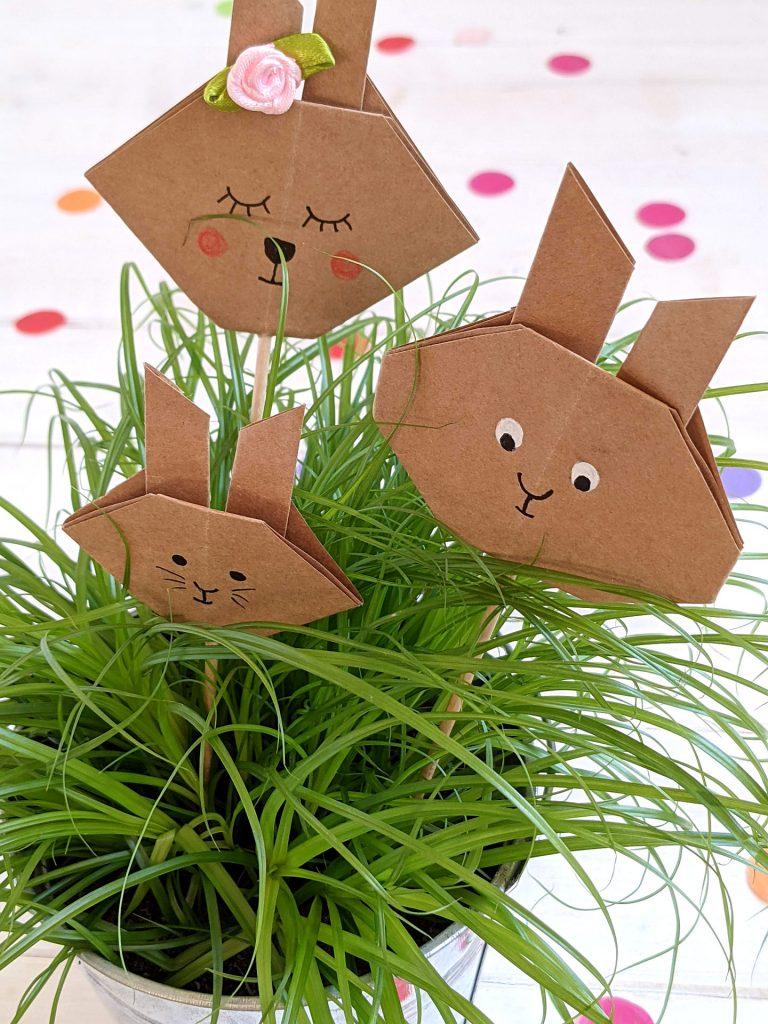 Blumenstecker Origami-Hasen basteln
