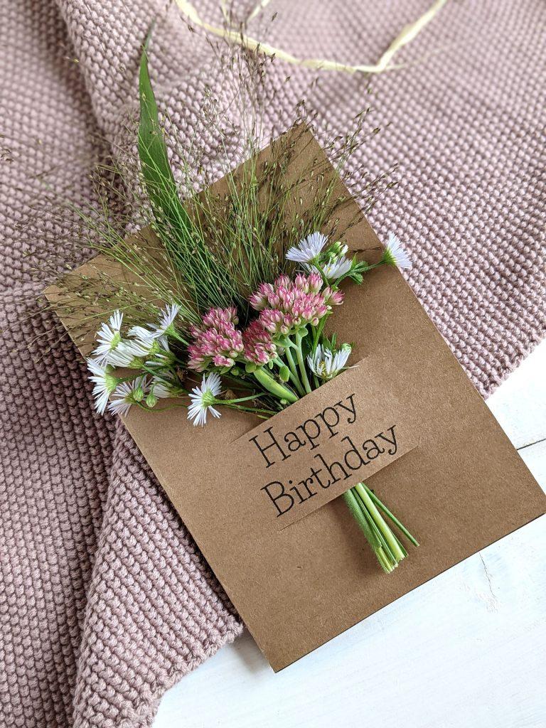 Geburtstagskarte Blumengruß DIY