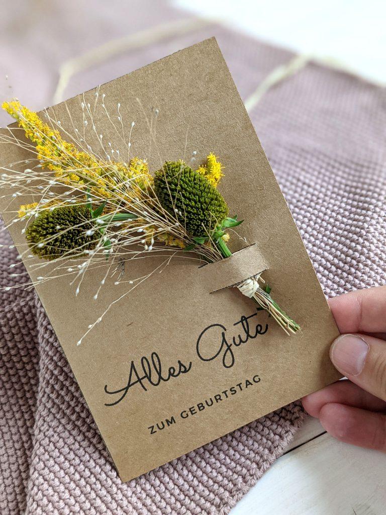 Geburtstagskarte Trockenblumen DIY